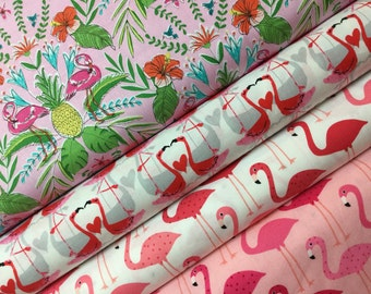 4 FQ Flamingos All Day Bundle, Robert Kaufman Cotton, Michael Miller Cotton Quilt Fabric