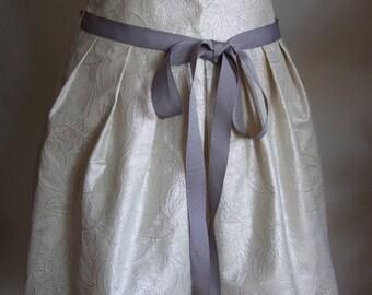 High waisted skirt in ivory with silver rose design, pleated boho skirt, avant garde skirt, knee length skirt, wedding skirt, elegant skirt