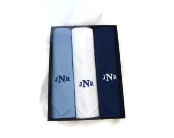 Monogrammed Handkerchief. Mens Handkerchief. Mens Monogrammed Handkerchiefs. Personalized Handkerchief. Blue Solids and White