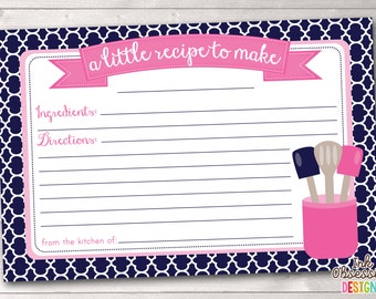 Printable Recipe Card Design - Navy Blue and Pink Kitchen Utensils - INSTANT DOWNLOAD