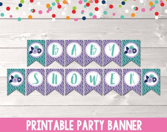 Baby Shower Bunting Banner Decorations Instant Download Printable PDF in Purple and Blue