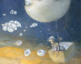 "Blow Fish 12x16 Fine Art Print, Puffer Fish Painting, Hot Air Balloon Art, ""Blowfish Dreams"" Limited Edition"