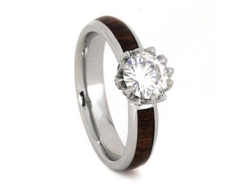 moissanite engagement ring wood ring with platinum lotus flower ring with caribbean rosewood - Lotus Wedding Ring