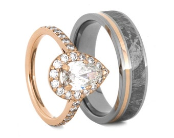 Rose Gold Wedding Ring Set Womens Pear Shaped Moissanite Engagement With Mens Meteorite