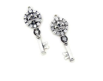 Pair of Antique Silver-tone Fleur de Lis Skeleton Key with Crystal Rhinestone Accents Charms