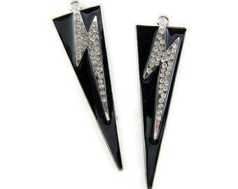 Pair of Triangular Charms with Rhinestone Lightning Bolts Black Epoxy Silver-tone
