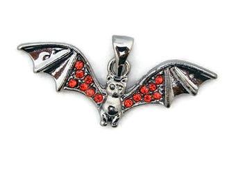 Hematite Red Rhinestone Bat Pendant Dark Silver-tone