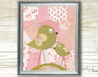 Birds Patchwork Pink and green -  baby nursery decor - Girl bedroom - kids art - nursery print - baby art  print