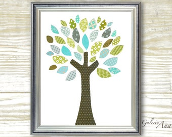 Tree nursery - Tree Of Colors print  - Nursery art print - nursery decor - baby nursery print - kids art kids room decor