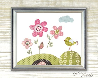 Art for Children baby nursery decor nursery wall art Nursery wall decor Birds - Flowers - Pink - Parmi Les Fleurs print