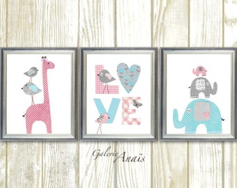 baby girl nursery decor Home Décor kids art giraffe nursery elephant nursery Birds Love pink gray blue nursery art Set of three prints