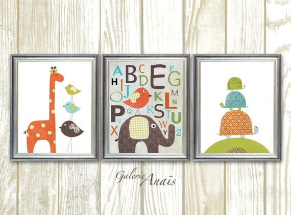 Elephant giraffe bird alphabet - personalized - baby nursery decor nursery print baby room decor Kids art - Set of three prints