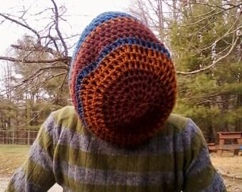 DREAD HAT Natural Handmade Crochet Hat Rasta Hat Wool Hat Slouch Hat Dreadlock Tam Dread *Blue & Rust*