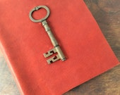Photo Album - Large Red Leather Photo Album with Antique Key Replica and Archival Pages - Includes photo corners