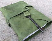 Green leather hiking journal with skeleton key