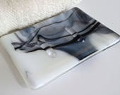 Streaky White and Black Fused Glass Soap Dish