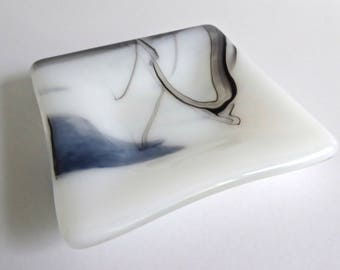 Fused Glass Ring Dish in White and Black Streaky Glass by BPRDesigns