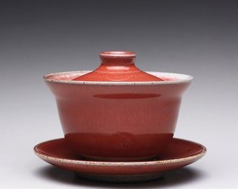 handmade pottery gaiwan and saucer, ceramic teapot, lidded bowl with bright red and whitte glazes