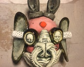 Japanese Oni , wall hanging, ceramic head