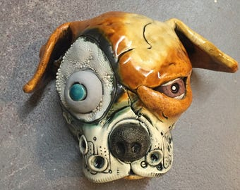Ceramic dog head, wall hanging, pit bull, ceramic mask