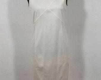 BASILE VINTAGE White Cotton SLEEVELESS Sheath dress Italian size 42