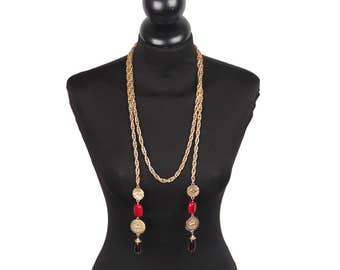 CHANEL Vintage 70s Gold Metal Chain TIE UP Cravatte Necklace