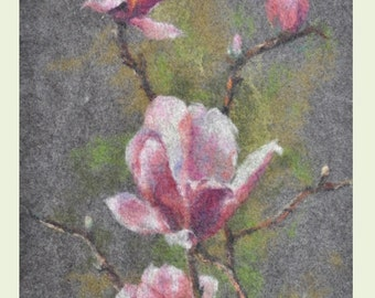 Felted painting of wool. Felted wall hanging picture. MAGNOLIA. OOAK.