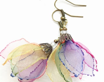 Rainbow . organza one of a kind earrings . Dancing in the air - designed and handmade by MGMart