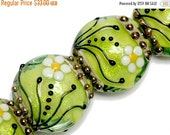 ON SALE 50% OFF New! 10508412 Four Spring Green Florals Lentil Beads - Handmade Glass Lampwork Beads