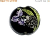 ON SALE 40% OFF New! 11839102 Iris and Critter Lentil Focal Bead - Handmade Glass Lampwork Bead