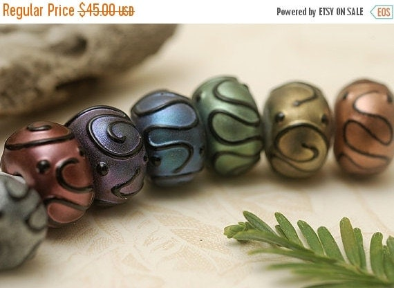 ON SALE 40% OFF Handmade Glass Lampwork Bead Set - Seven Different Color Pearl Surface Rondelles 11204901