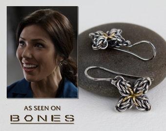 Sterling Silver Dangle Earrings, Oxidized Argentium & 18k Gold Earrings, Star Flower Celtic Chainmaille, As Seen On TV BONES, Worn By Angela