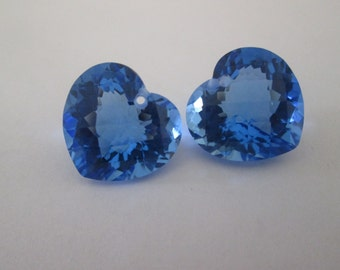 Sale - Luxe AAA  Blue Topaz - Matching Pair  - Heart Shape - Front Drilled - Beautiful Earring Focals - Checkerboard - Extreme Concave