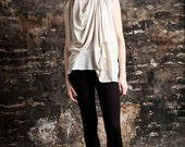 Sleeveless Callie Flip Cardigan in Warm Cream