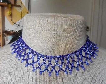 Netted Weave Beaded Choker Necklace in Cobalt Blue Amethyst Purple Adjustable Length OlyTeam