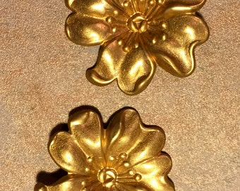 5 Vintage cast brassed dogwood blossom pieces
