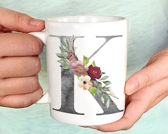 Personalized Floral Initial Mug