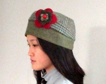 Green Plaid Hat with Fleece Lining and Detachable Flower from The Bent Tree Gallery
