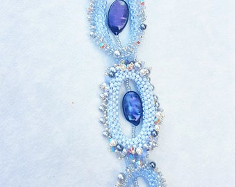 Statement  Crystal Necklace in Grey, Blue and Silver Pendanat Jewelry Romantic November Clouds