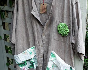 3-4X Linen Blend Upcycled Smock/ Restyled Plus Size Man's Tan-Brown Shirt/ Funky Chintz Pockets/ Ragg Rose Pin/ Sheerfab Funwear