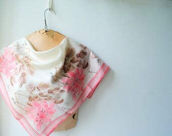 Sweet vintage 60s  white acetate scarf with a pastel pink and brown, abstract flowers and leaves print. Made by Vera. Mint condition.