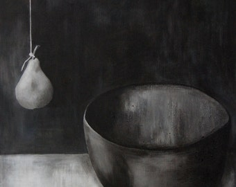 Surreal Pear Still Life - Black & White Monochromatic Simple Minimal Surreal Botanical Still Life Original Acrylic Painting