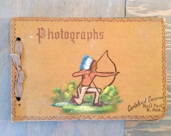 Vintage Leather Split Leather Suede Photo Album with Hand Painted Native American on Front, Souvenir of Carlsbad Caverns