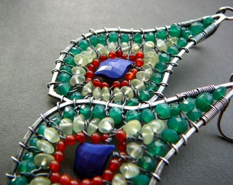 Green arabesque peacock feather earrings - sterling silver, green onyx, prehnite, orange carnelian and lapis lazuli