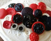 Vintage Buttons - Cottage chic fancy pierced mix of red and black and white, lot of 23 old and sweet( feb603 17)