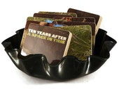Ten Years upcycled After A Space in Time album cover wood coasters and vinyl record bowl