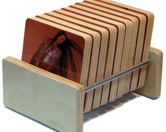 Crystal Gayle handmade Birch Holder and 9 recycled record sleeve wood coasters