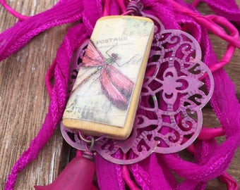 Hot Pink Silk Fairy Ribbon and Hand Painted Filigree Necklace   Vintage Lucite    BNFRDFF1213  originally 21.50 now 5.37 summer sale