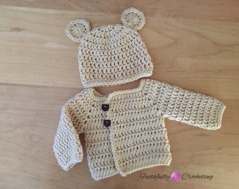 Newborn sweater set... bear beanie with sweater coat.. ready to ship... tan bear.. new baby sweater set