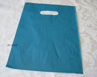 50 Gift Bags, Blue Plastic Bags, Blue Glossy Bags, Teal Blue Bags, Merchandise Bags, Retail Bags, Favor Bags, Bags with Handles 9x12